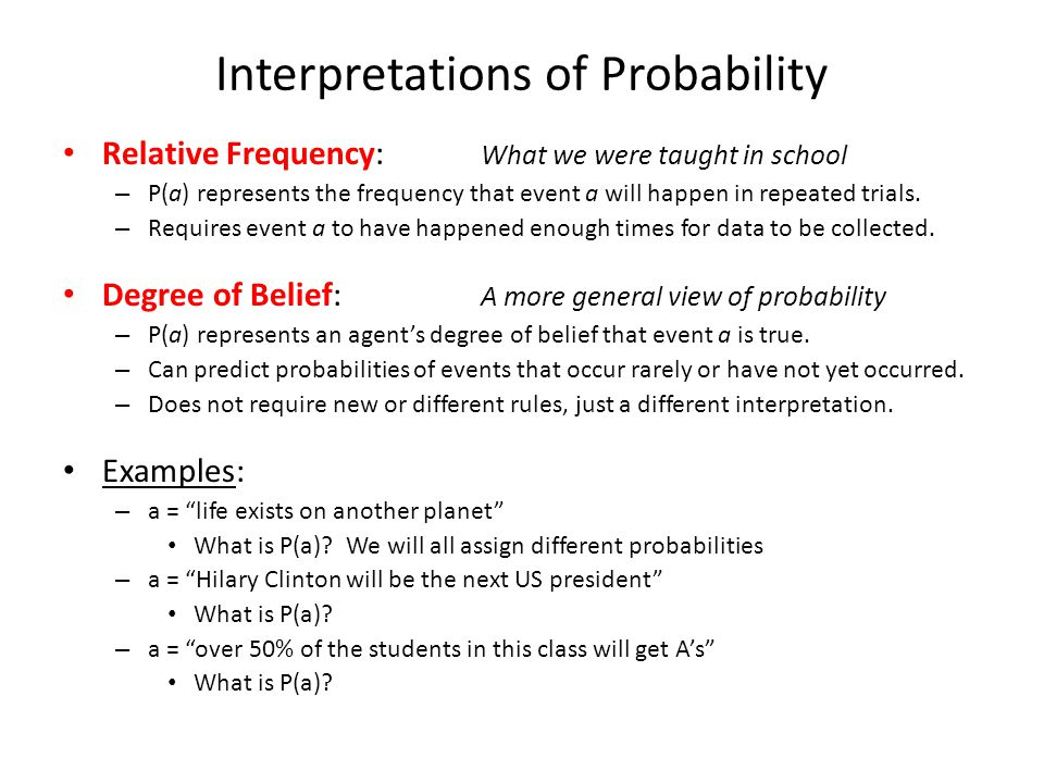 Interpretations of Probability Relative Frequency: What we were taught in school – P(a) represents the frequency that event a will happen in repeated