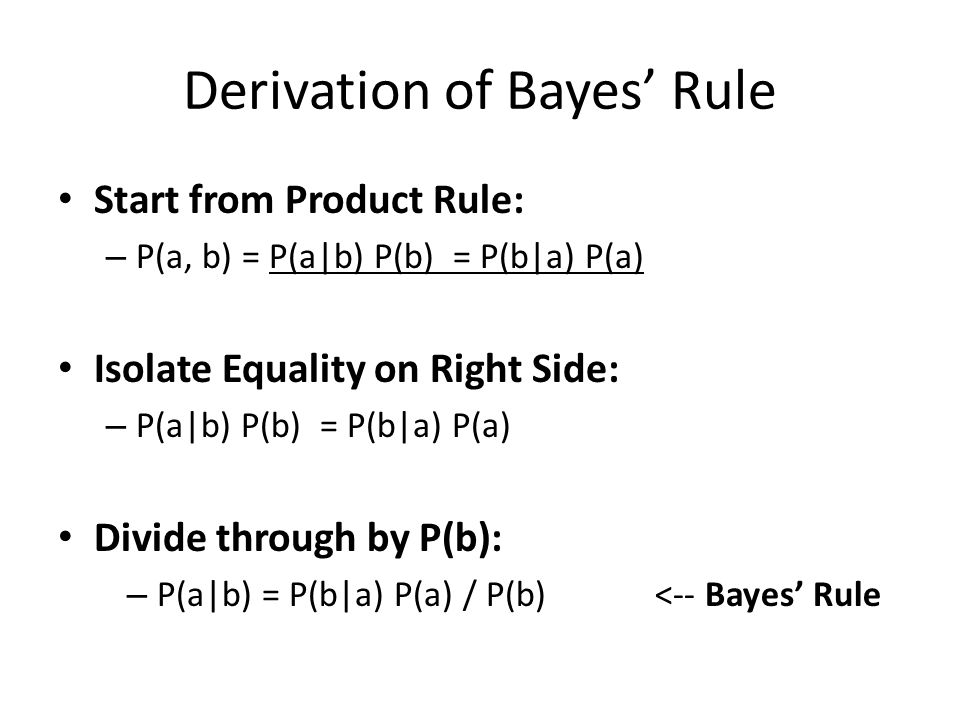 Derivation of Bayes' Rule Start from Product Rule: – P(a, b) = P(a|b) P(b) = P(b|a) P(a) Isolate Equality on Right Side: – P(a|b) P(b) = P(b|a) P(a) D