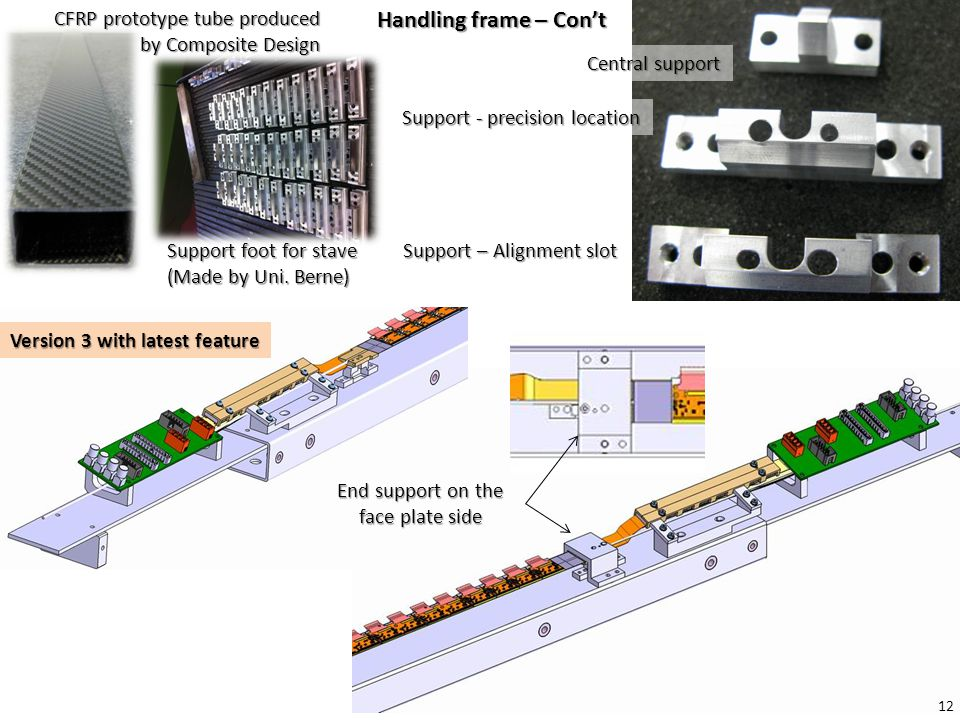 Handling frame – Con't CFRP prototype tube produced by Composite Design Support foot for stave (Made by Uni.
