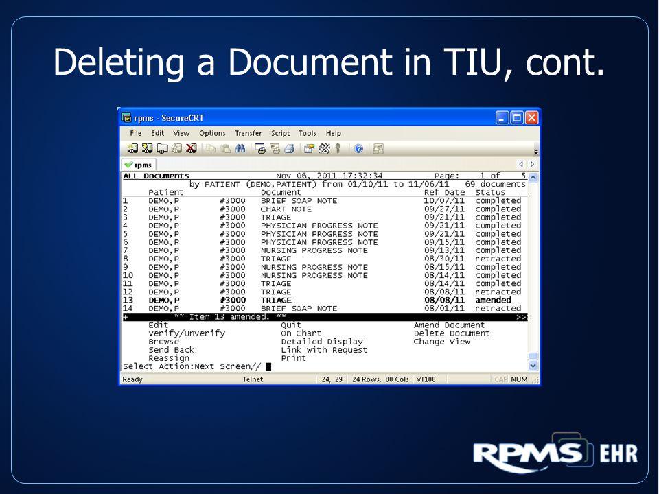 Deleting a Document in TIU, cont.