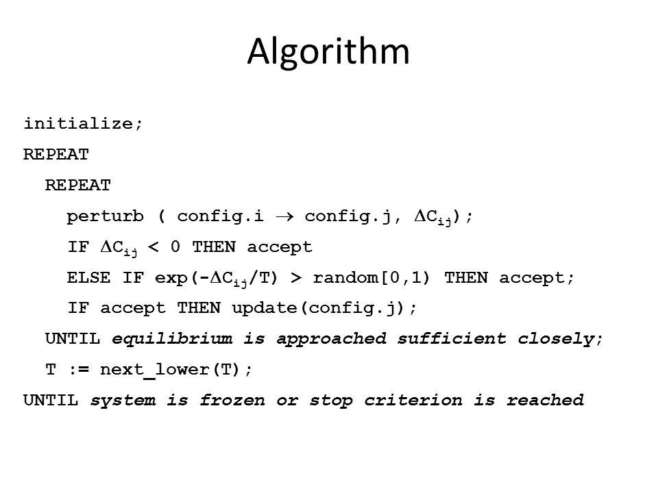 Algorithm initialize; REPEAT perturb ( config.i  config.j,  C ij ); IF  C ij < 0 THEN accept ELSE IF exp(-  C ij /T) > random[0,1) THEN accept; IF
