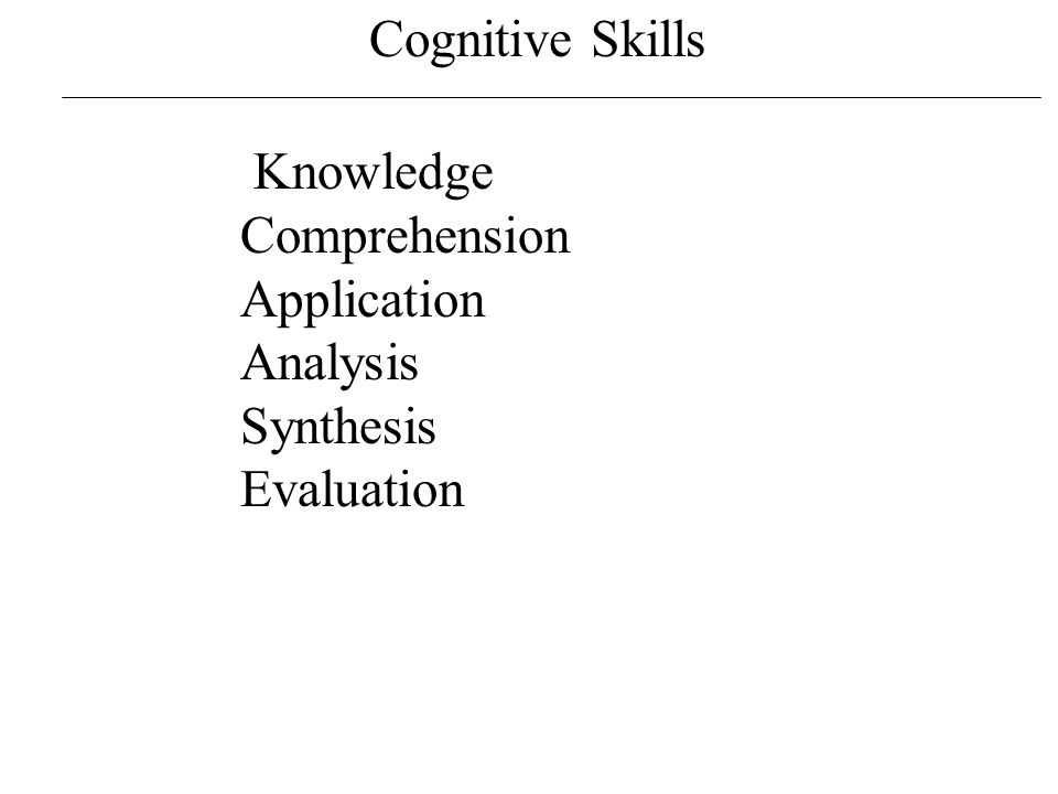 Cognitive Skills http://en.wikipedia.org/wiki/File:BloomsCognitiveDomain.svg