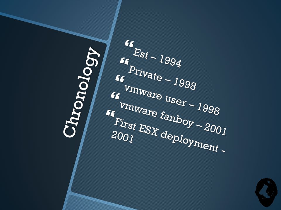 Chronology  Est – 1994  Private – 1998  vmware user – 1998  vmware fanboy – 2001  First ESX deployment - 2001