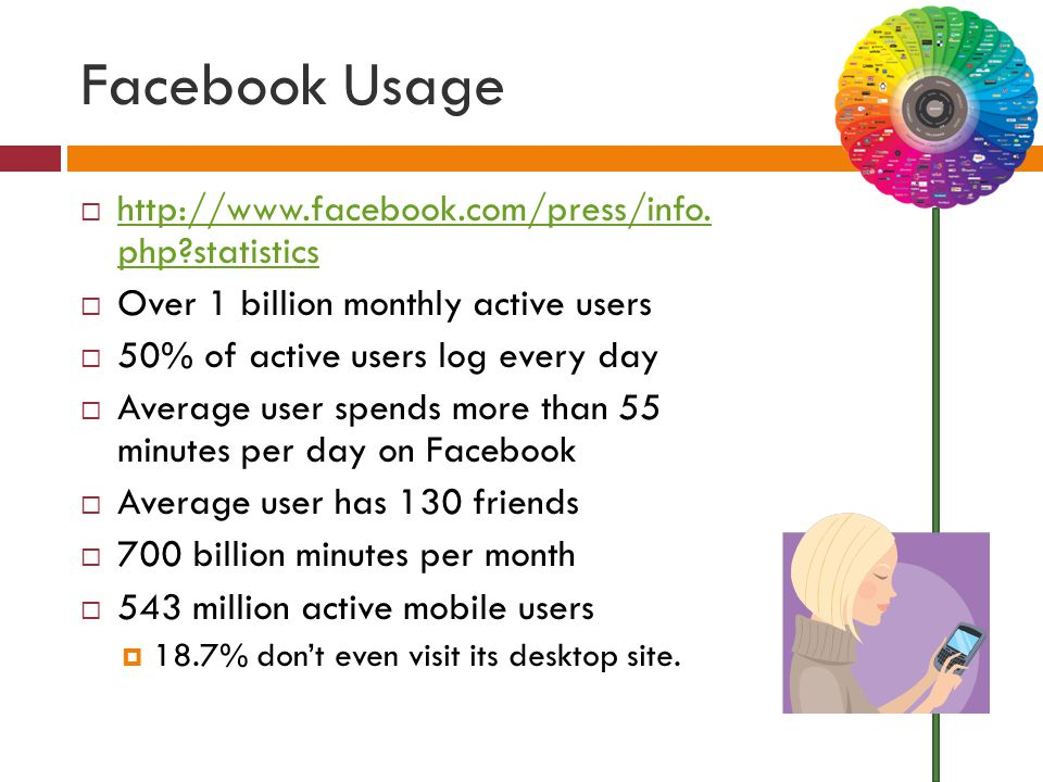 Facebook Usage  http://www.facebook.com/press/info. php?statistics http://www.facebook.com/press/info. php?statistics  Over 1 billion monthly active