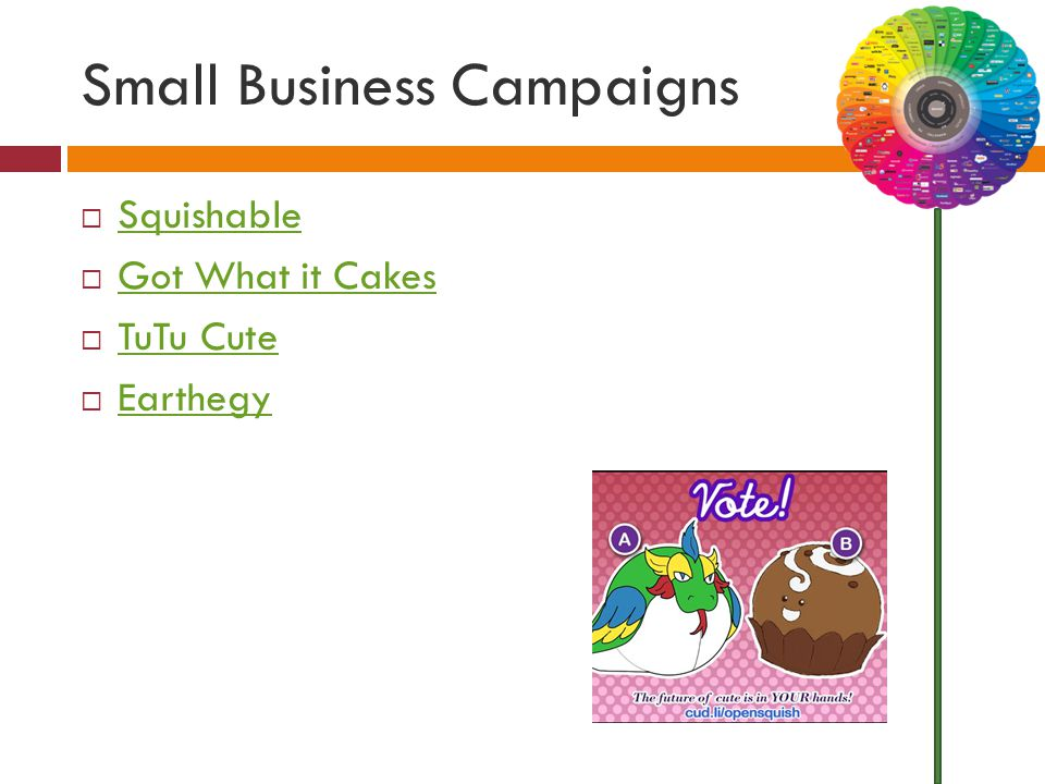 Small Business Campaigns  Squishable Squishable  Got What it Cakes Got What it Cakes  TuTu Cute TuTu Cute  Earthegy Earthegy