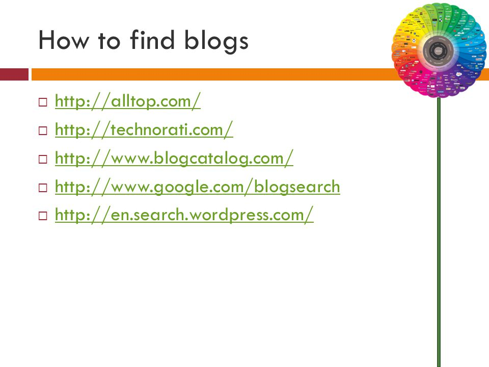 How to find blogs  http://alltop.com/ http://alltop.com/  http://technorati.com/ http://technorati.com/  http://www.blogcatalog.com/ http://www.blogcatalog.com/  http://www.google.com/blogsearch http://www.google.com/blogsearch  http://en.search.wordpress.com/ http://en.search.wordpress.com/