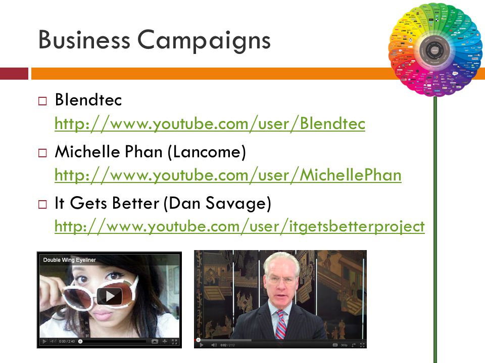 Business Campaigns  Blendtec http://www.youtube.com/user/Blendtec http://www.youtube.com/user/Blendtec  Michelle Phan (Lancome) http://www.youtube.c