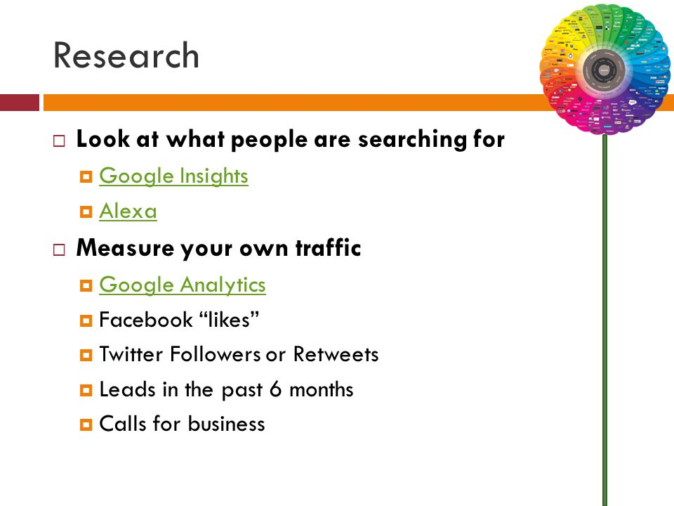 Research  Look at what people are searching for  Google Insights Google Insights  Alexa Alexa  Measure your own traffic  Google Analytics Google