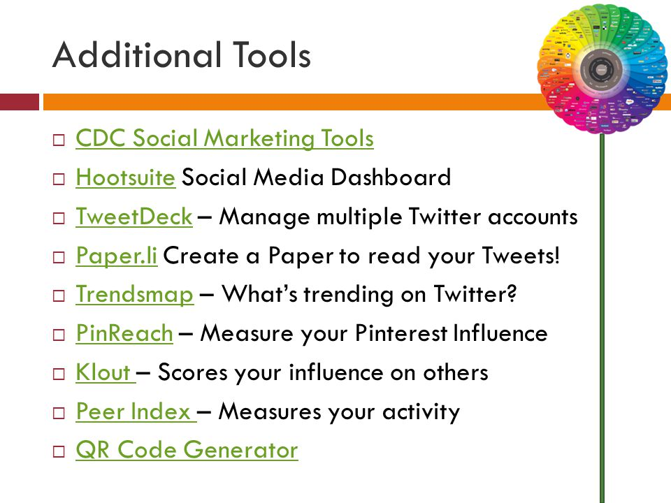 Additional Tools  CDC Social Marketing Tools CDC Social Marketing Tools  Hootsuite Social Media Dashboard Hootsuite  TweetDeck – Manage multiple Twitter accounts TweetDeck  Paper.li Create a Paper to read your Tweets.