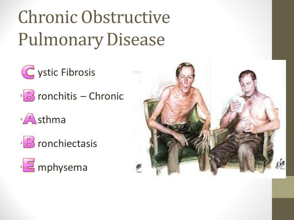 Chronic Obstructive Pulmonary Disease ystic Fibrosis ronchitis – Chronic sthma ronchiectasis mphysema
