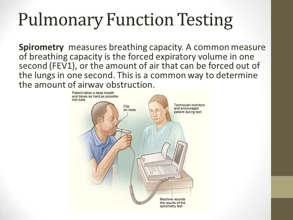 Pulmonary Function Testing Spirometry measures breathing capacity. A common measure of breathing capacity is the forced expiratory volume in one secon