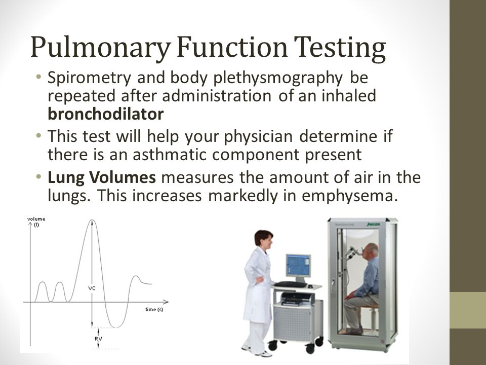 Pulmonary Function Testing Spirometry and body plethysmography be repeated after administration of an inhaled bronchodilator This test will help your physician determine if there is an asthmatic component present Lung Volumes measures the amount of air in the lungs.