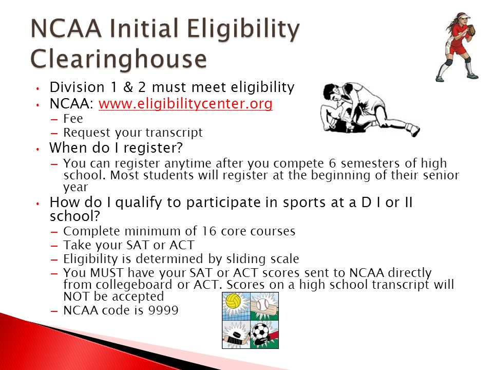Division 1 & 2 must meet eligibility NCAA: www.eligibilitycenter.orgwww.eligibilitycenter.org – Fee – Request your transcript When do I register.