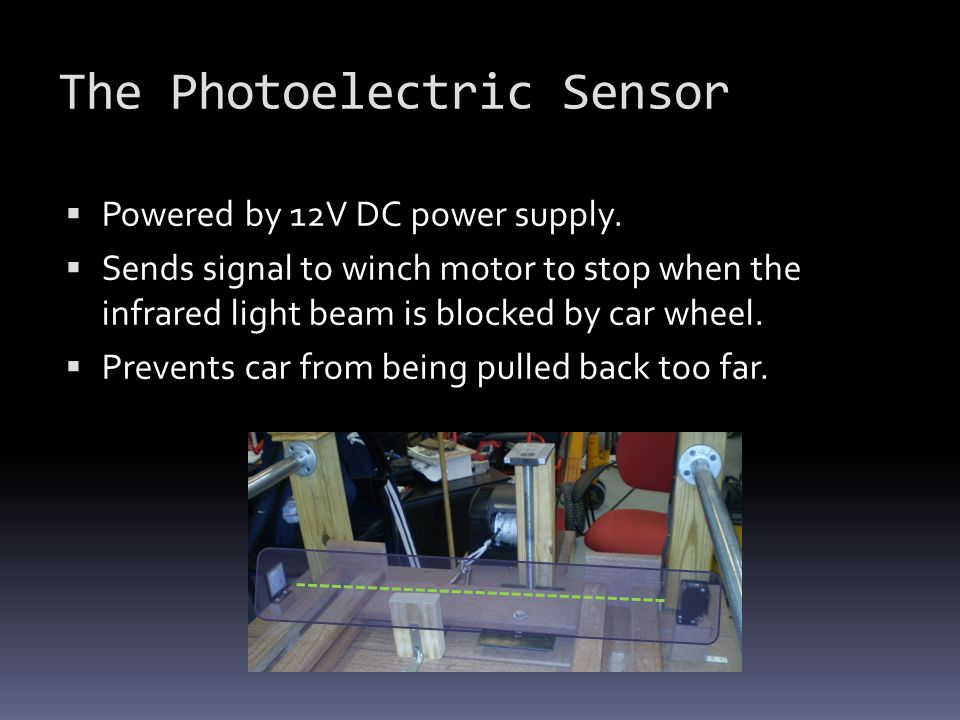 The Photoelectric Sensor  Powered by 12V DC power supply.  Sends signal to winch motor to stop when the infrared light beam is blocked by car wheel.