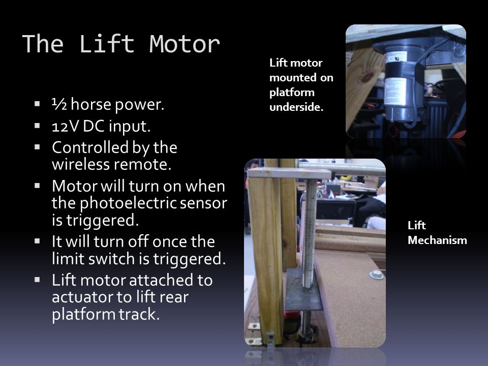 The Lift Motor  ½ horse power.  12V DC input.  Controlled by the wireless remote.  Motor will turn on when the photoelectric sensor is triggered.