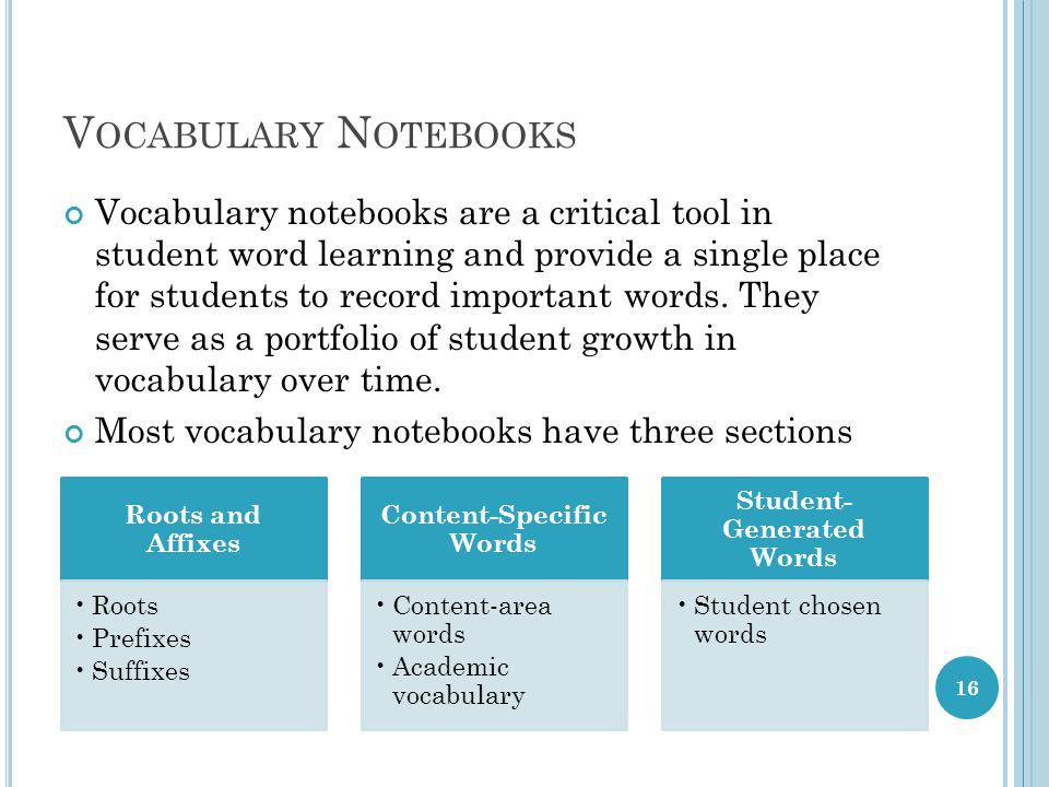 V OCABULARY N OTEBOOKS Vocabulary notebooks are a critical tool in student word learning and provide a single place for students to record important words.
