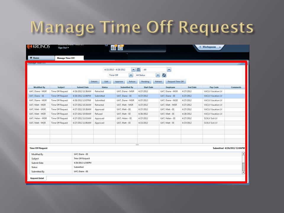  Review and manage requests in the request grid.