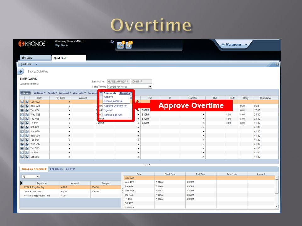 Approve Overtime - Must be in 6 minute increments