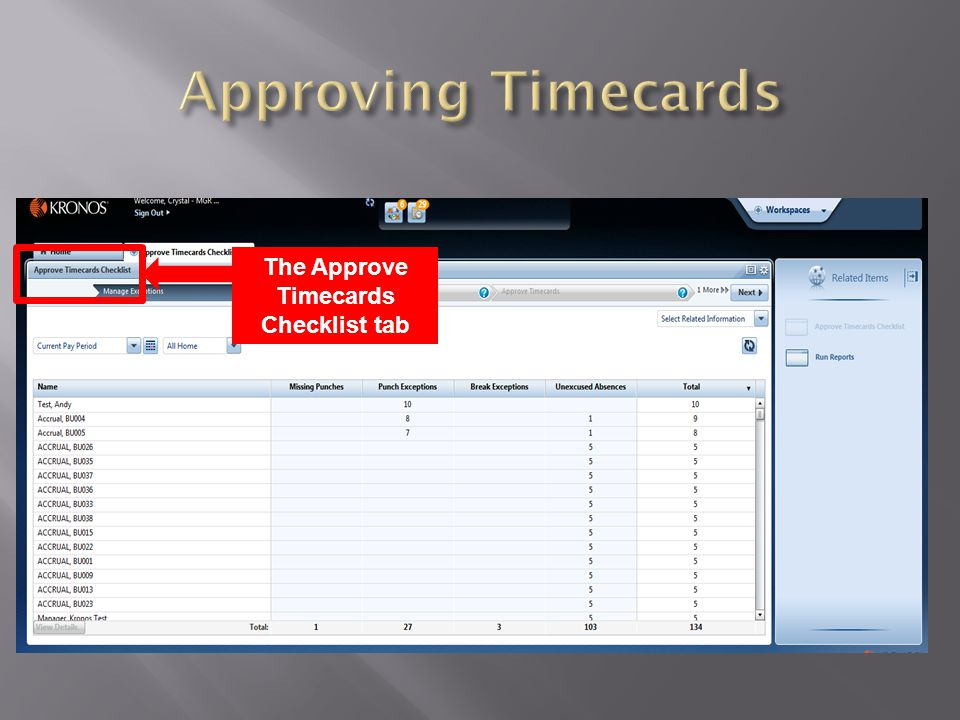 The Approve Timecards Checklist tab appears.