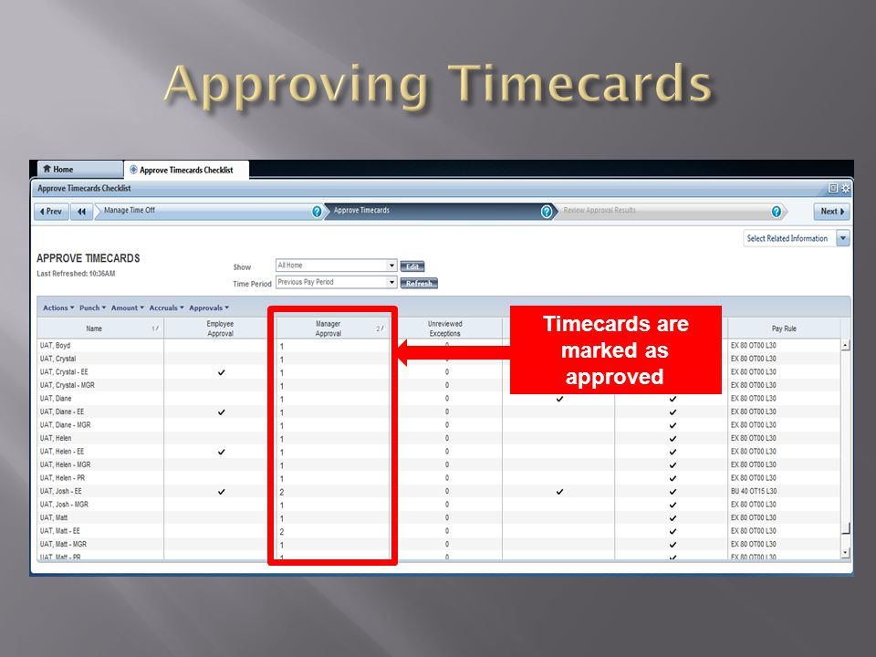 Timecards are marked as approved