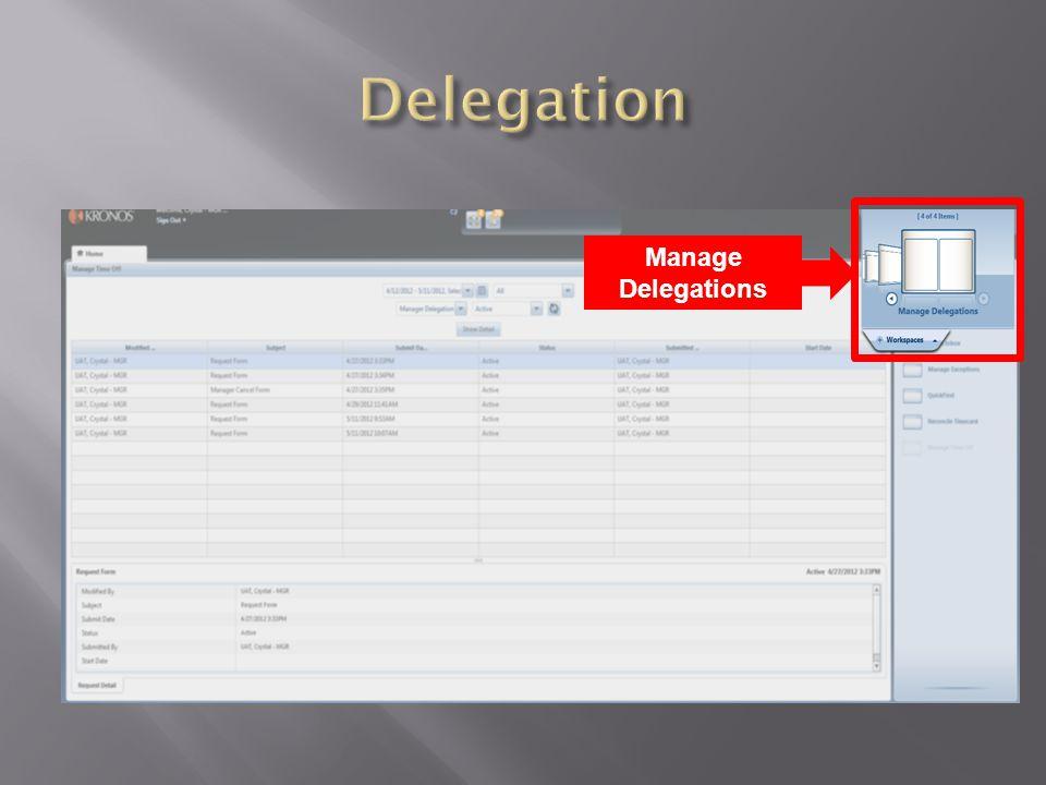 Manage Delegations
