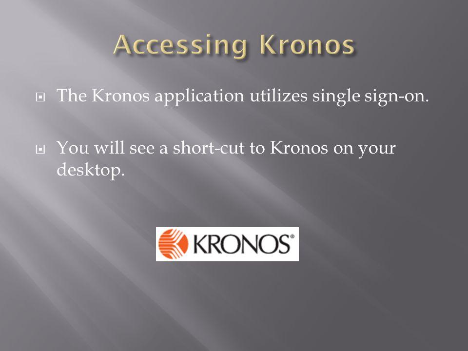  The Kronos application utilizes single sign-on.