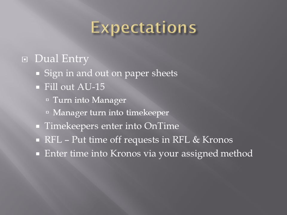  Dual Entry  Sign in and out on paper sheets  Fill out AU-15  Turn into Manager  Manager turn into timekeeper  Timekeepers enter into OnTime  RFL – Put time off requests in RFL & Kronos  Enter time into Kronos via your assigned method
