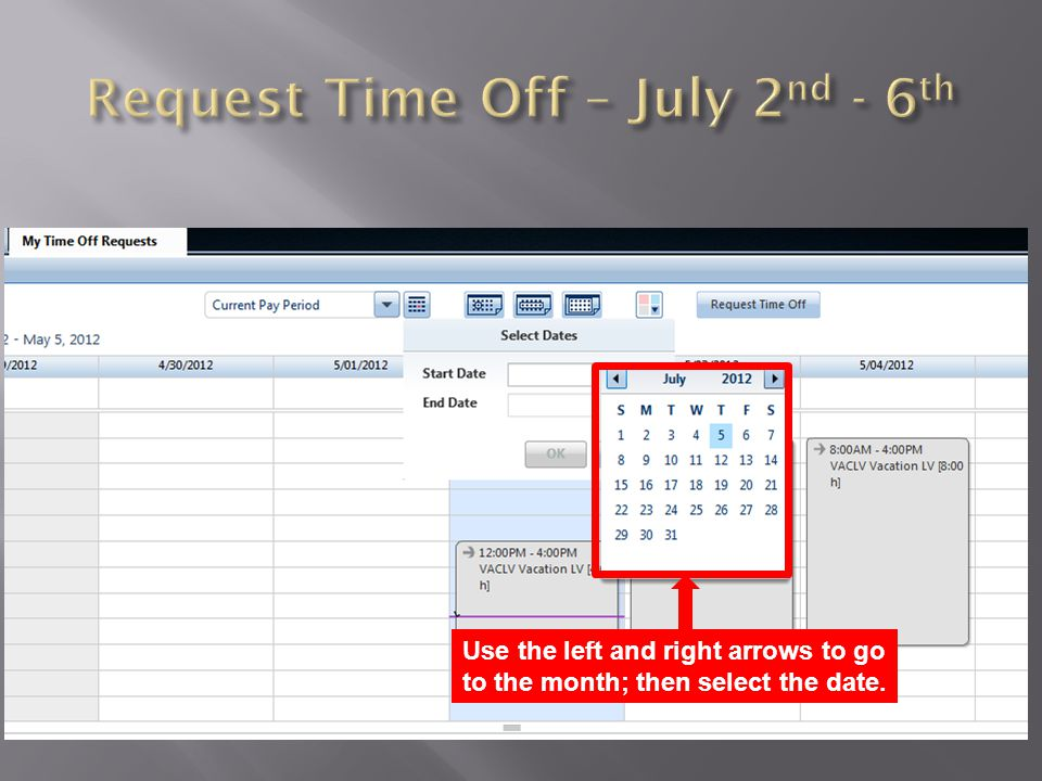 Once a Start Date is selected, the end date will be populated with the start date.