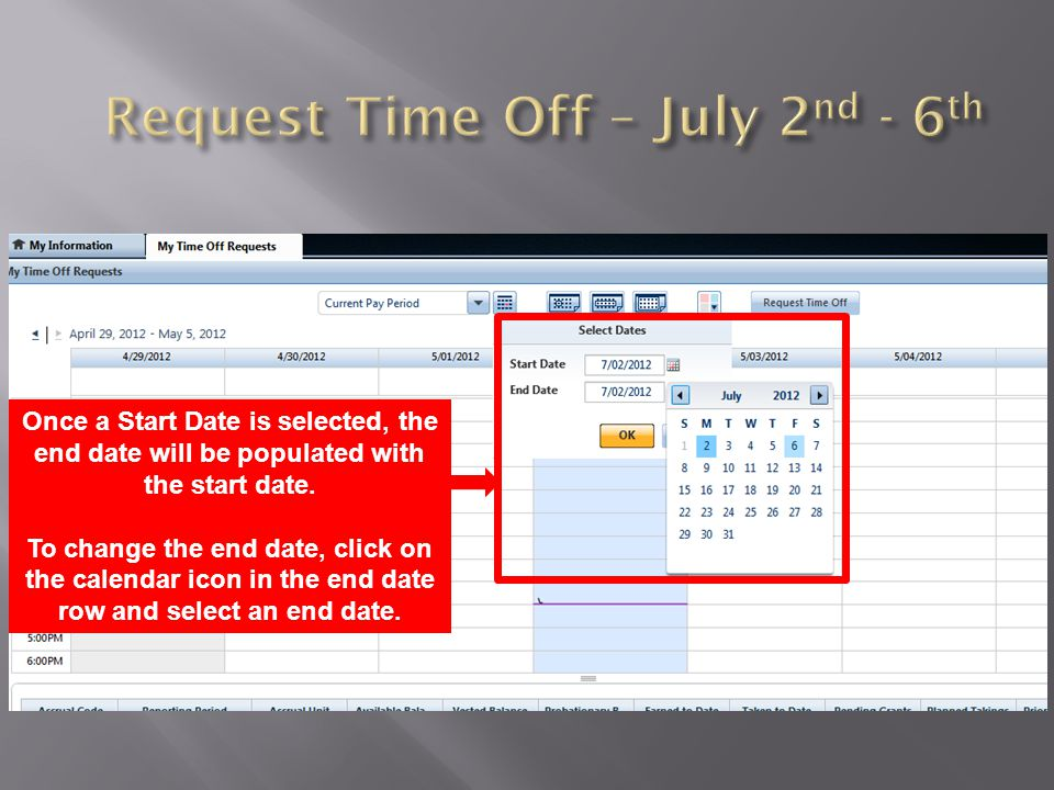 Once you have the Start Date and End Dates you would like to view, click OK