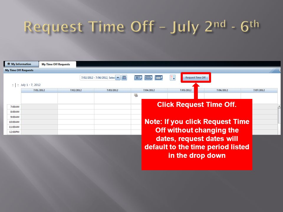 Request Time Off screen appears