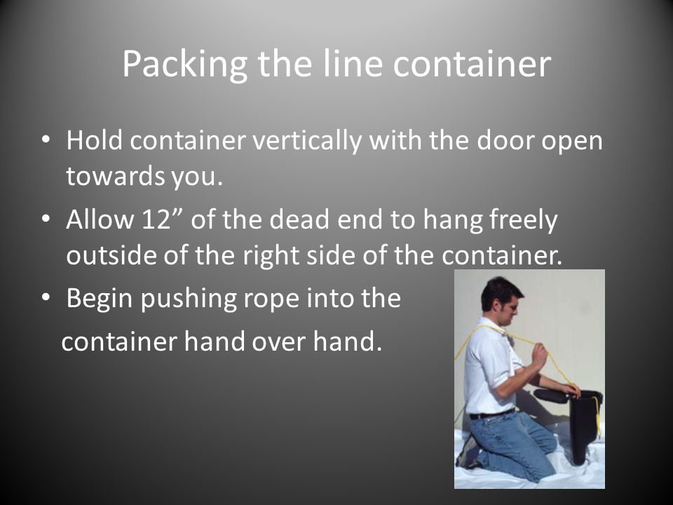 Packing the line container Hold container vertically with the door open towards you.