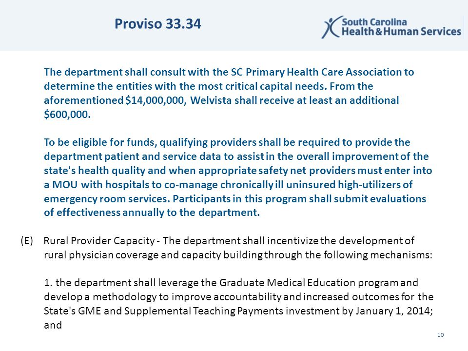 Proviso 33.34 ✔ 10 The department shall consult with the SC Primary Health Care Association to determine the entities with the most critical capital needs.