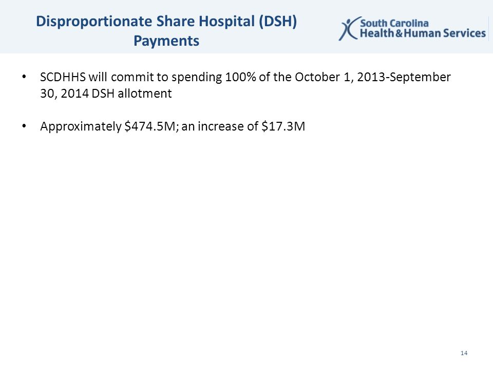 Disproportionate Share Hospital (DSH) Payments ✔ 14 SCDHHS will commit to spending 100% of the October 1, 2013-September 30, 2014 DSH allotment Approximately $474.5M; an increase of $17.3M