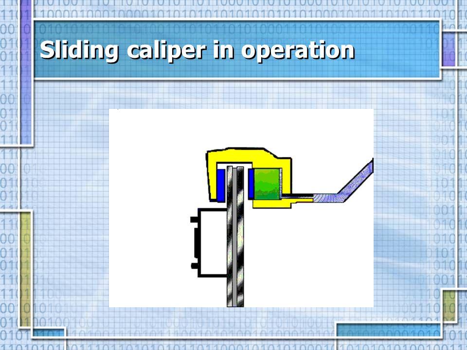 Sliding caliper in operation