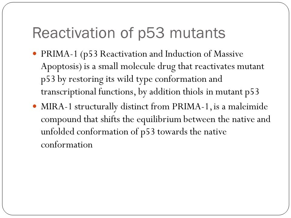 Reactivation of p53 mutants PRIMA-1 (p53 Reactivation and Induction of Massive Apoptosis) is a small molecule drug that reactivates mutant p53 by rest