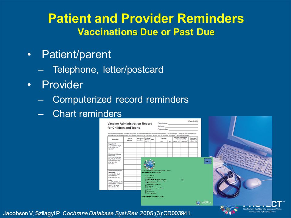 Patient and Provider Reminders Vaccinations Due or Past Due Patient/parent –Telephone, letter/postcard Provider –Computerized record reminders –Chart reminders Jacobson V, Szilagyi P.