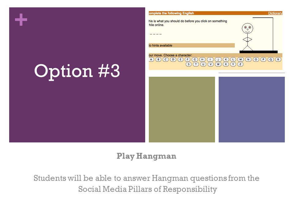 + Option #3 Play Hangman Students will be able to answer Hangman questions from the Social Media Pillars of Responsibility