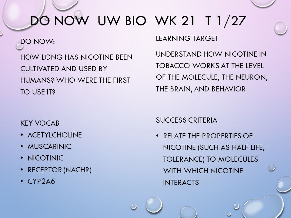 DO NOW UW BIO WK 21 T 1/27 DO NOW: HOW LONG HAS NICOTINE BEEN CULTIVATED AND USED BY HUMANS.