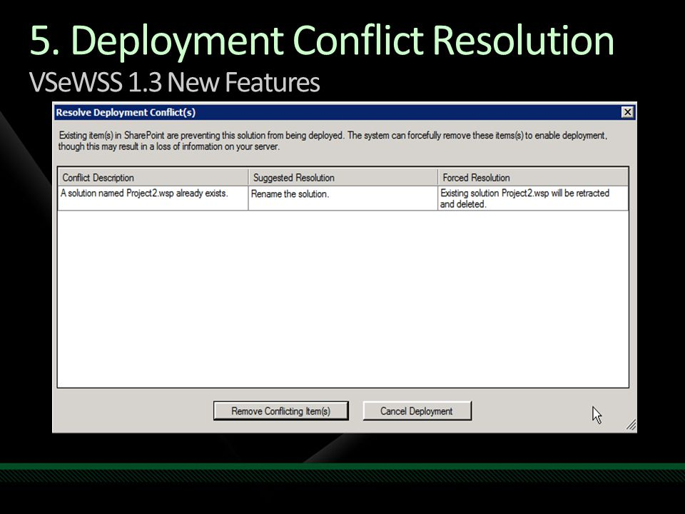 5. Deployment Conflict Resolution VSeWSS 1.3 New Features
