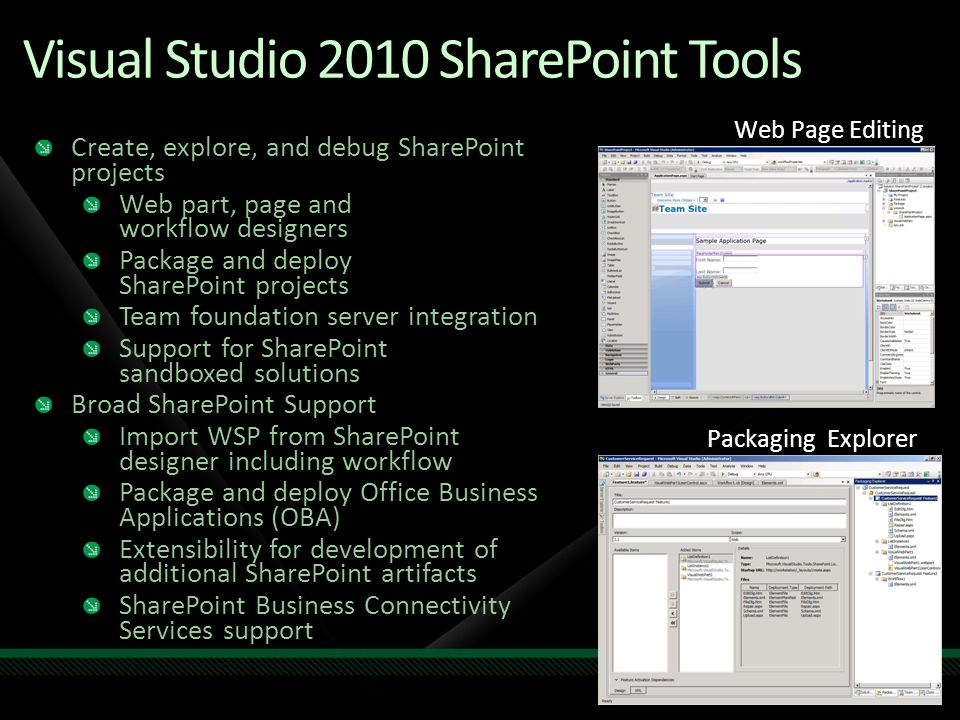 Visual Studio 2010 SharePoint Tools Packaging Explorer Web Page Editing Create, explore, and debug SharePoint projects Web part, page and workflow des