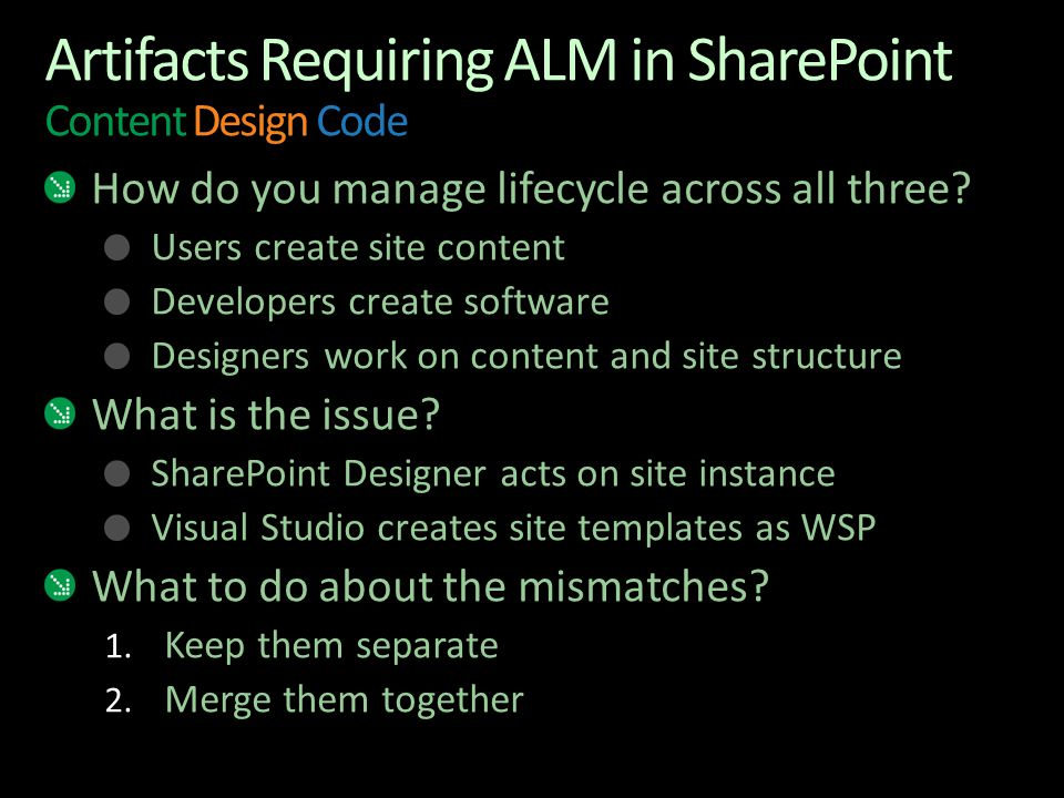 Artifacts Requiring ALM in SharePoint Content Design Code How do you manage lifecycle across all three? Users create site content Developers create so