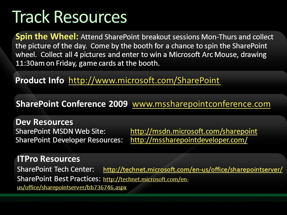 Track Resources Spin the Wheel: Attend SharePoint breakout sessions Mon-Thurs and collect the picture of the day. Come by the booth for a chance to sp