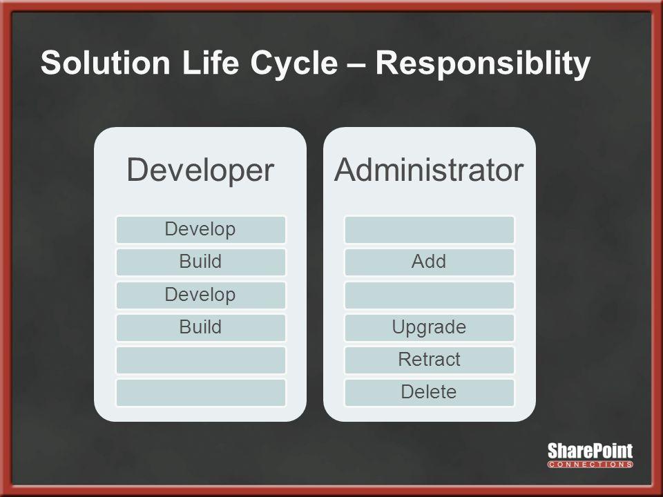 Solution Life Cycle – Responsiblity Developer DevelopBuildDevelopBuild Administrator AddUpgradeRetractDelete