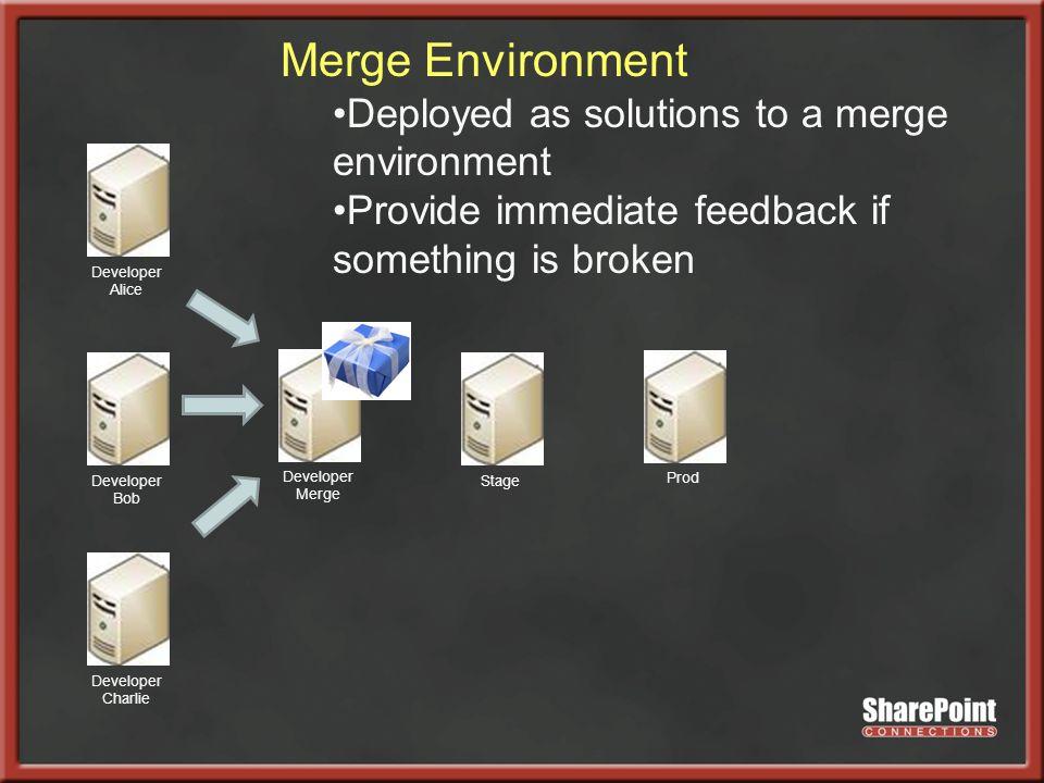 Developer Alice Developer Bob Developer Charlie Developer Merge StageProd Merge Environment Deployed as solutions to a merge environment Provide immediate feedback if something is broken