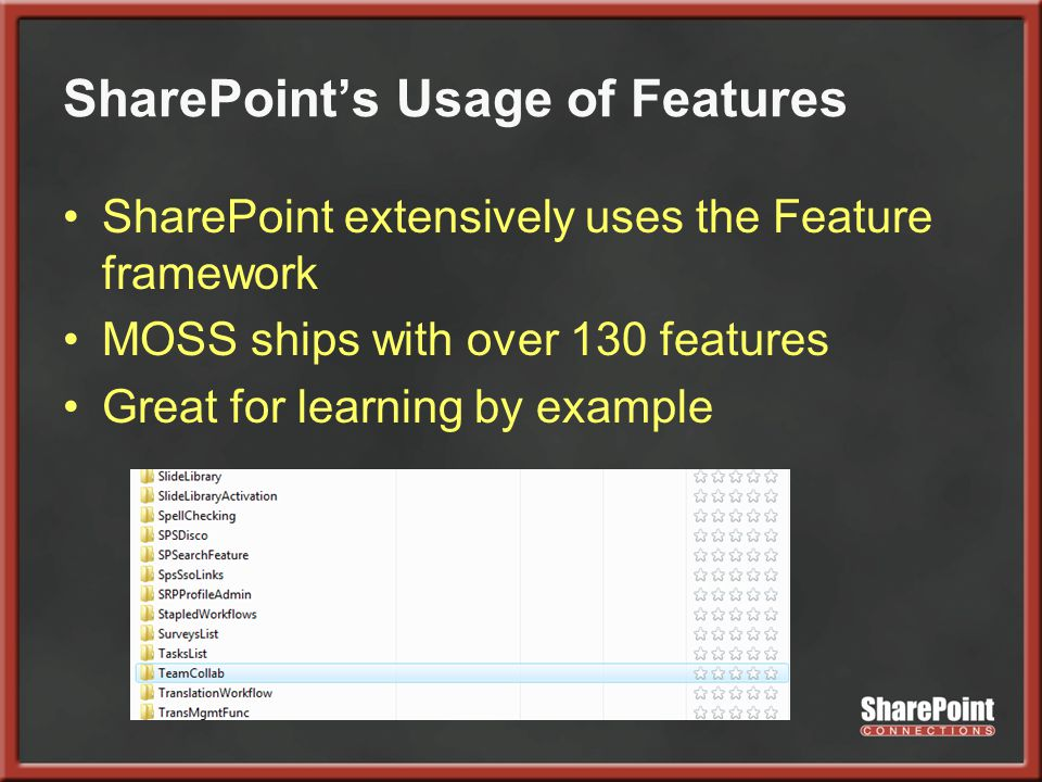SharePoint's Usage of Features SharePoint extensively uses the Feature framework MOSS ships with over 130 features Great for learning by example