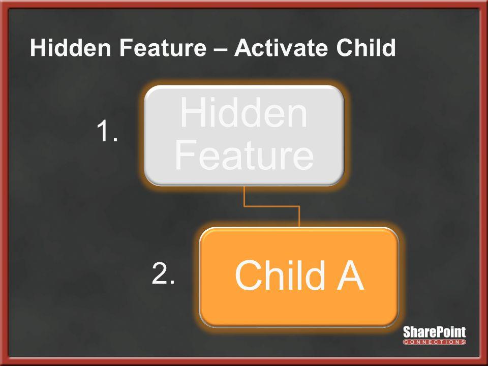 Hidden Feature – Activate Child Hidden Feature Child A 1. 2.