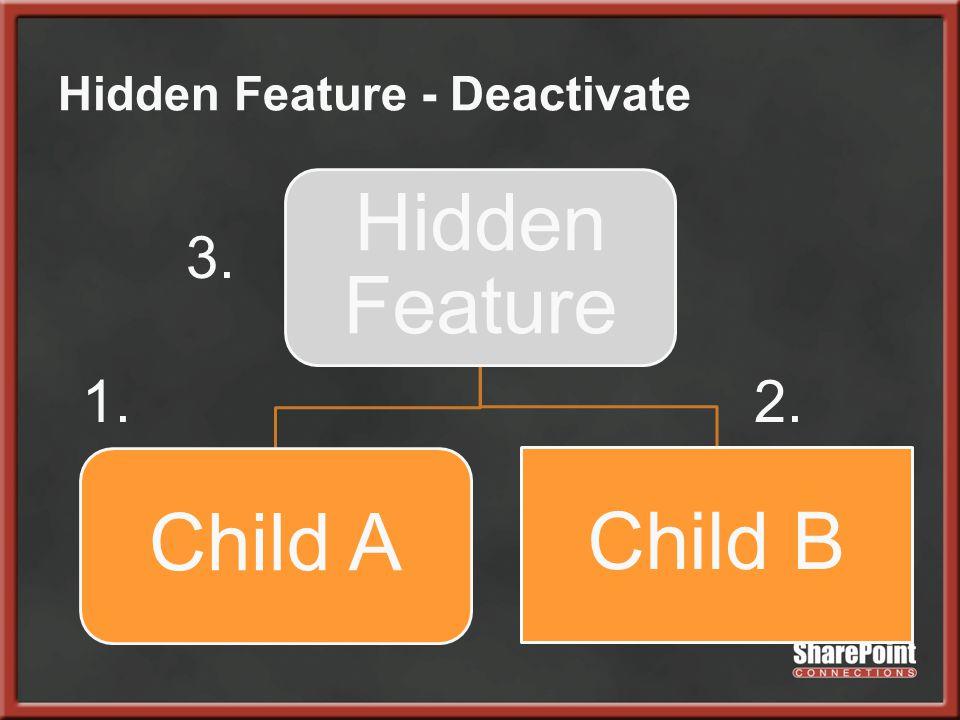 Hidden Feature - Deactivate Hidden Feature Child A Child B 3. 1.2.