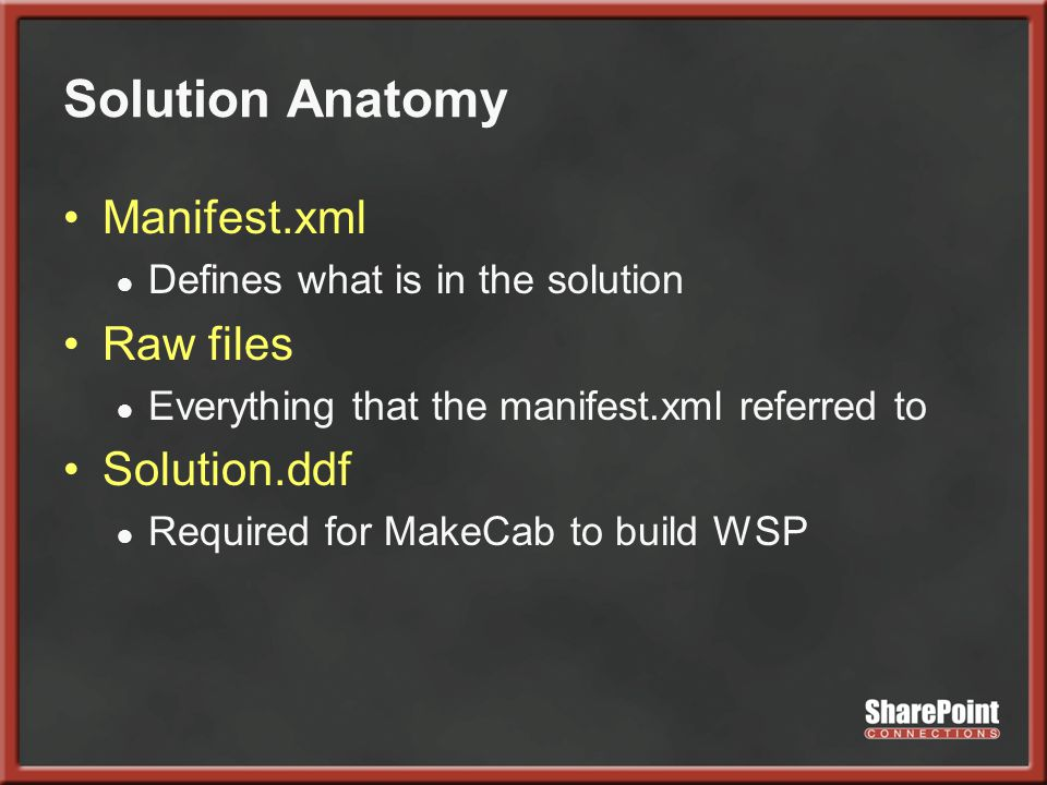 Solution Anatomy Manifest.xml ● Defines what is in the solution Raw files ● Everything that the manifest.xml referred to Solution.ddf ● Required for MakeCab to build WSP
