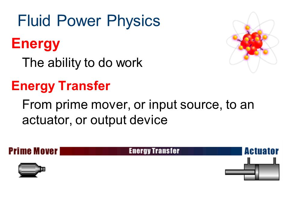 Fluid Power Physics Work Force multiplied by distance Measured in foot-pounds Example: How much work is completed by moving a 1000 lb force 2 ft.