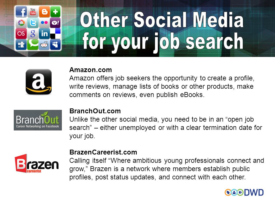 Amazon.com Amazon offers job seekers the opportunity to create a profile, write reviews, manage lists of books or other products, make comments on rev
